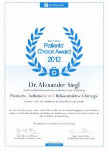 DocFinder Patients Choice Award Urkunde